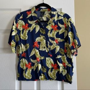Forever 21 Blue Topical Hawaiian Shirt